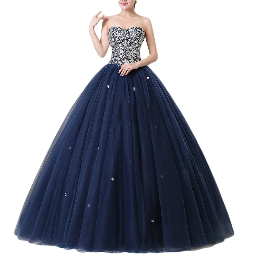 Promcc womenus strapless beaded ball gown prom tulle quinceanera