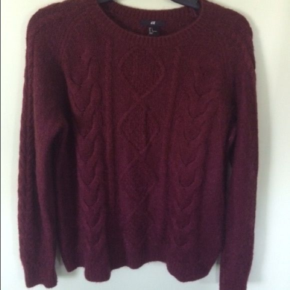 H&M Maroon Cable Knit Sweater Wool Blend Large Like new, H&M ...
