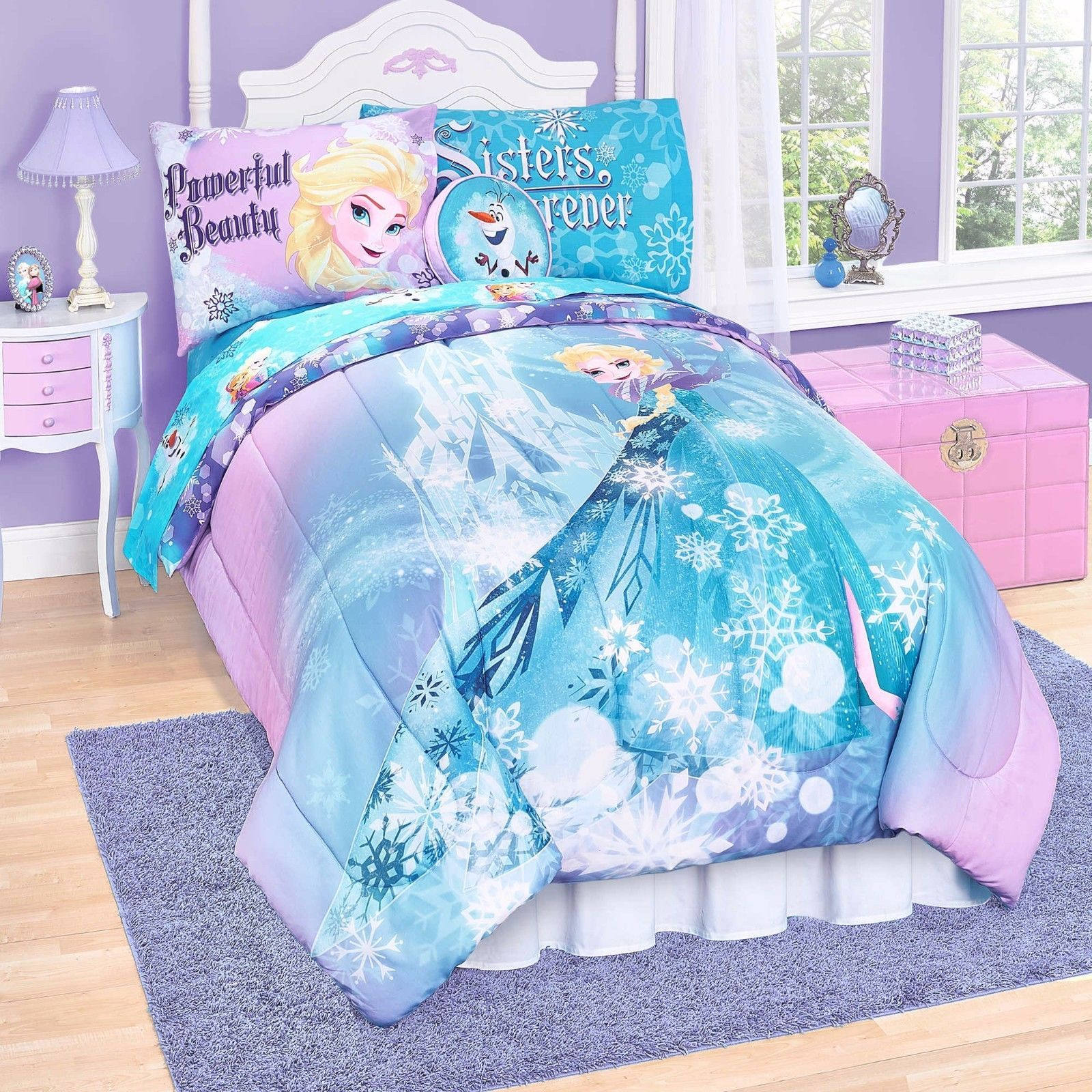 Disney Frozen Elsa Anna 6 Piece Twin Bed Set Reversible Purple Blue Pink Sheets Ebay