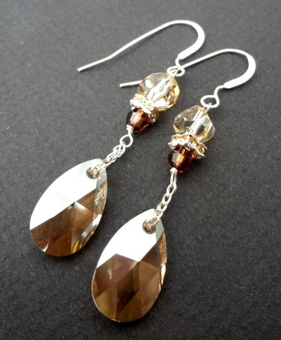 Gold Dust Golden Shadow Swarovski Crystal Bridal Long Drop Earrings With Sterling Silver Chain Vintage Style Bridesmaid