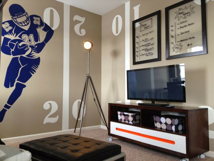 boys football room. love this color and design so much! how fun