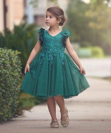 Vestido verde esmeralda nina