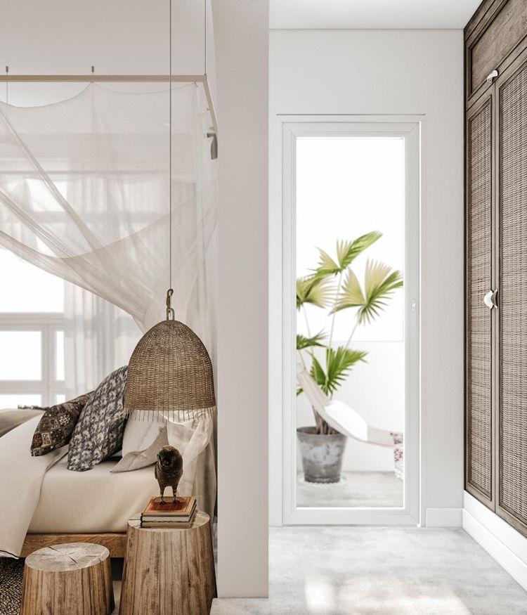 Schlafzimmer Deko Ethno Style Korbleuchte Baumstamm Beistelltische - schlafzimmer deko bilder