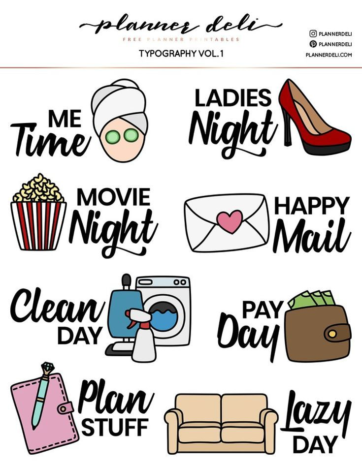 Free Functional Typography Printable Stickers - Planner ...