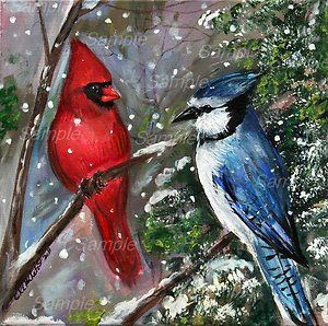 Blue Jay Male Cardinal Giclee Snow Painting Red Blue Winter Bird
