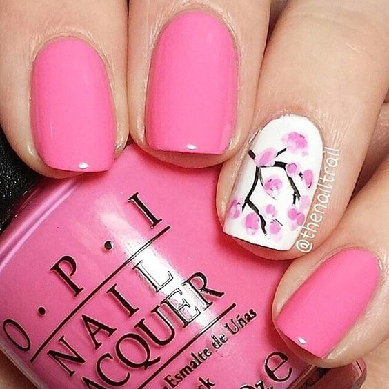 Pink Spring Cherry Blossom Nail Design for Short Nails. Always Think Pink!..Well..What  A Way To ShowYour Feminine Side! - Pink Spring Cherry Blossom Nail Design For Short Nails Short Nails