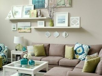 Charming Teal + Lime Living Room // Love The Wall Display. Canvases Plus Shelves. Part 6