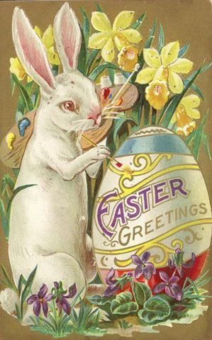free vintage printable greeting card Easter bunny painting ... Easter Clip Art Free Retro