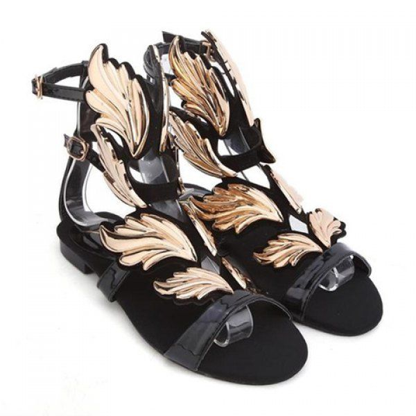 b26e457763b26 Fashion Gold Leaf and Buckle Design Women's Flat Sandals, BLACK, 41 ...