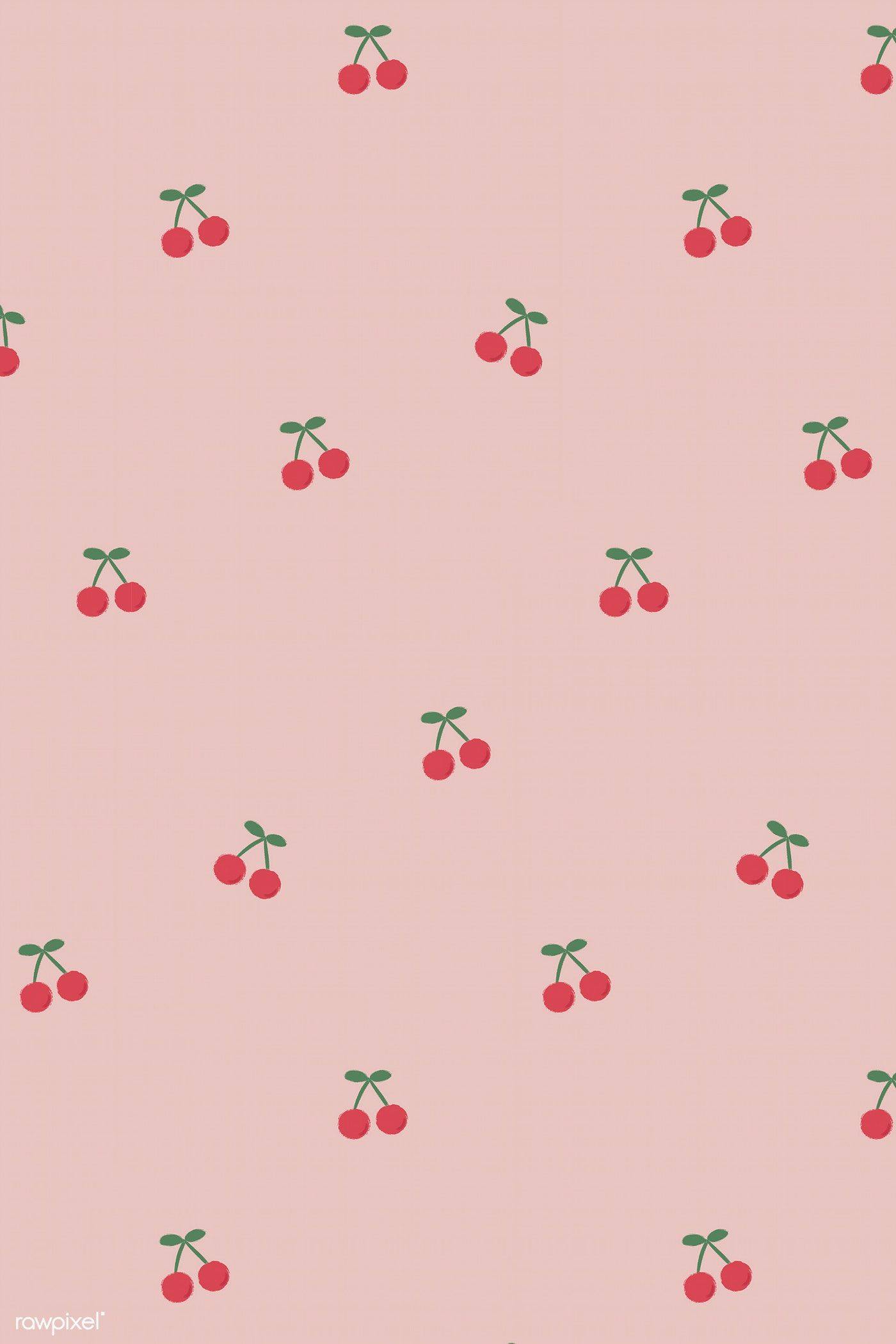 Red Hand Drawn Cherry Seamless Pattern On Pink Social Template Vector Premium Aesthetic Iphone Wallpaper Iphone Background Wallpaper Cute Patterns Wallpaper