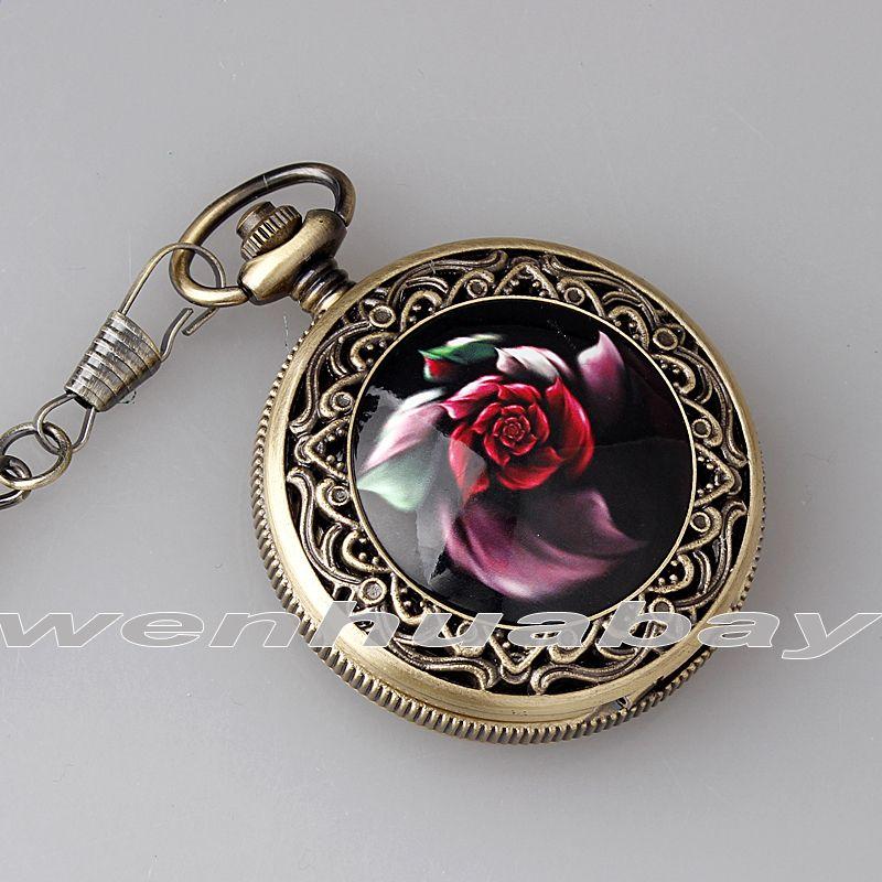 Vintage Rose Fleur Sculpture Chiffres Arabes Cadran Noir Quartz