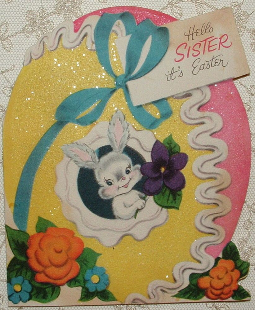 Glittered - Die-Cut - Easter Egg - 1940's Vintage NORCROSS Greeting Card