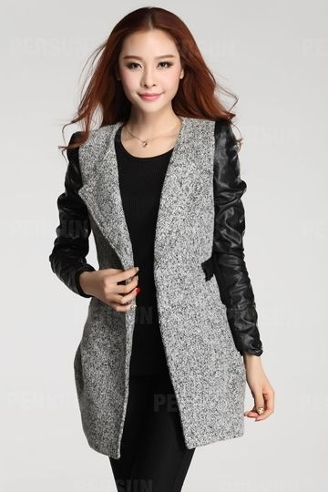 Slim Wool Coat with Leather Sleeves and Belt | PERSUN coats ...