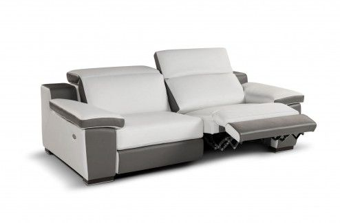 Furniture Luxury Modern Contemporary 2 Seats Electrical Recliners Sofa With White And Grey Leather Upholstery  sc 1 st  Pinterest : modern style recliner chairs - islam-shia.org