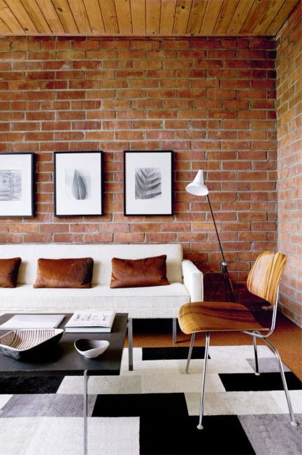 White Black Wood Brick Metal All In One Space Love It Brick Living Room Brick Wall Living Room House Interior