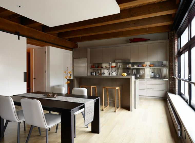 Sala Cucina Open Space.Set Sala Da Pranzo Bicolore Cucina Soggiorno Open Space