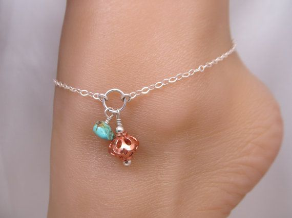 Fish Bead Sterling Silver Adjustable to 11 Turquoise Ankle Bracelet