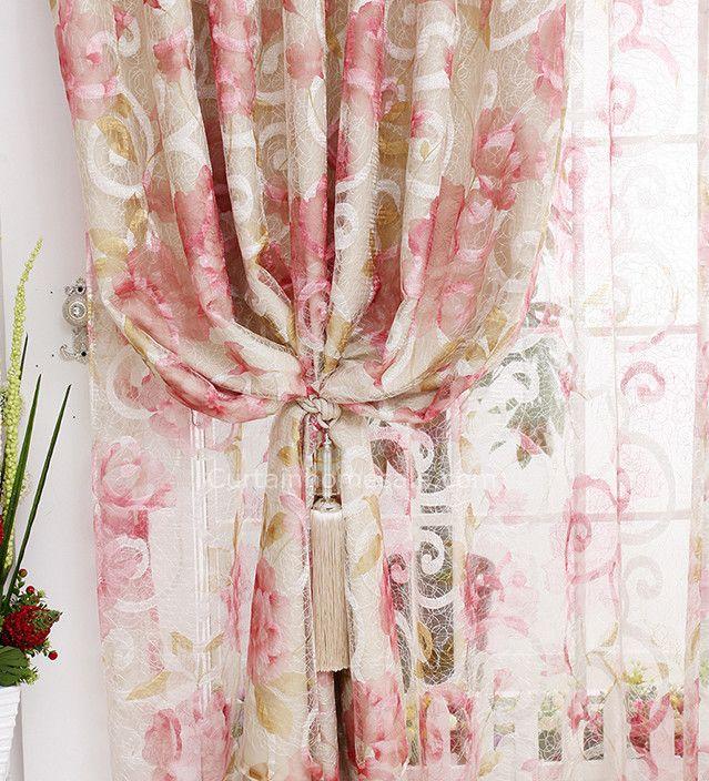 prinzessin insulated gemusterte stickerei rosa shabby chic vorh nge im schlafzimmer shabby. Black Bedroom Furniture Sets. Home Design Ideas
