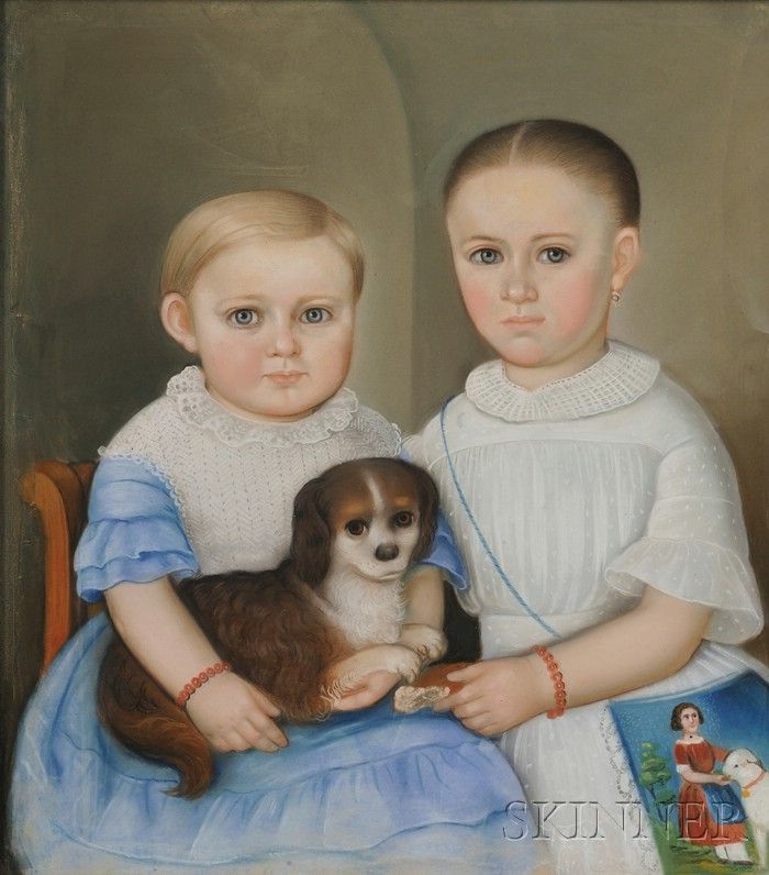 Portrait of Two Children and Their Spaniel. Unsigned. Pastel on paper, c. 1840, depicting a girl wearing a white dress and a coral bead bracelet, a purse hangs on her side depicting a girl and a sheep, possibly the characters of the nursery rhyme, the boy depicted wearing a blue dress with a white lace collar and bodice, and coral bead bracelet, and holds a spaniel on his lap, 22 1/4 x 20 1/4 in., in a period molded wood frame.