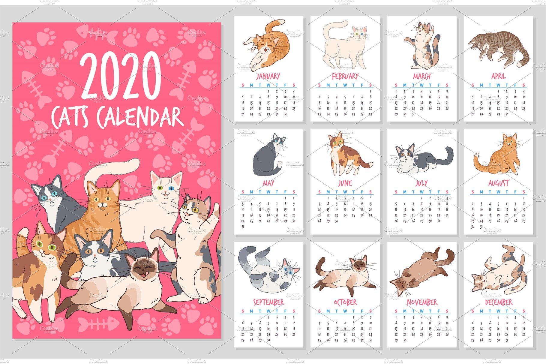 Cat Calendar 2020 Year Planner With In 2020 Cat Calendar Calendar Yearly Planner