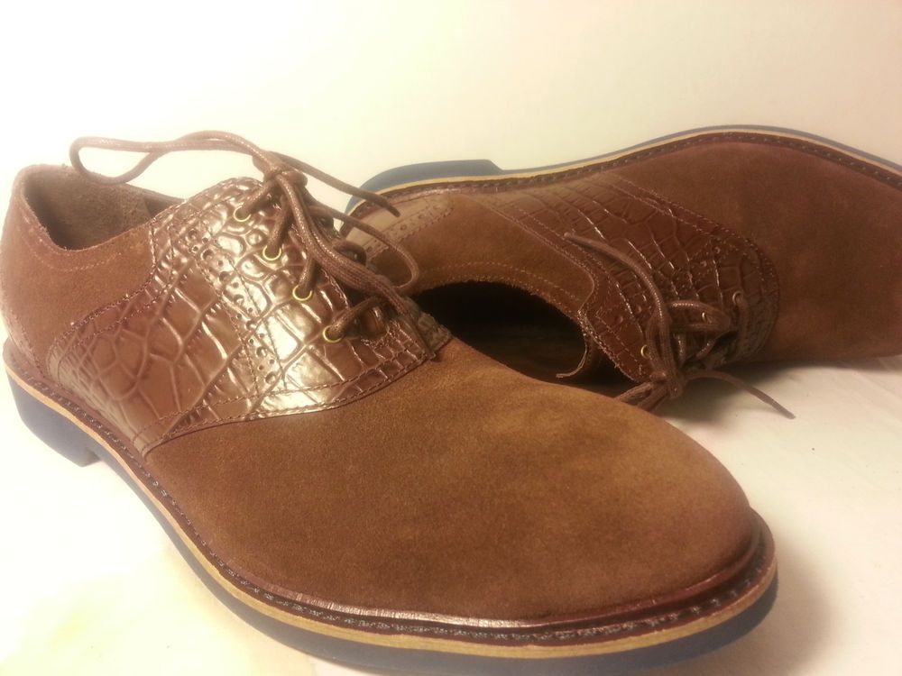Cole Haan Men Franklin Saddle Leather Suede Oxford Chestnut Croc Shoe 12 M  NIB #ColeHaan
