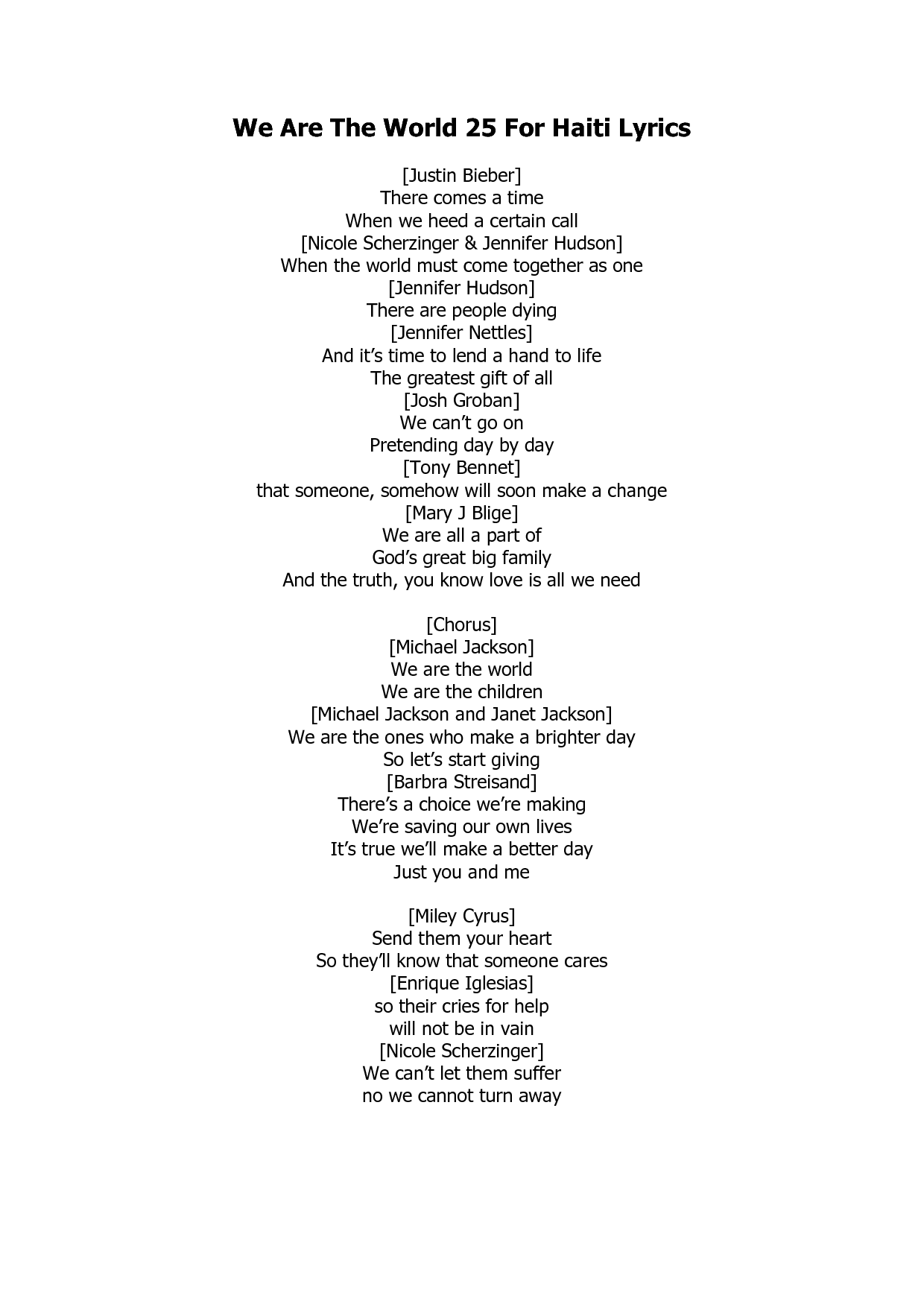 Michael Jackson We Are The World Lyrics