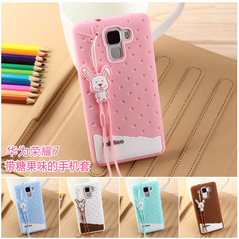 Huawei Honor 7 Case 3D Cute Cartoon Ice Cream Soft TPU Silicone Mobile Phone Cases For Huawei Honor 7 Cover Lanyard Silicon Case