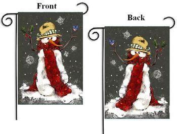 Red Scarf Snowman Winter Garden Flag