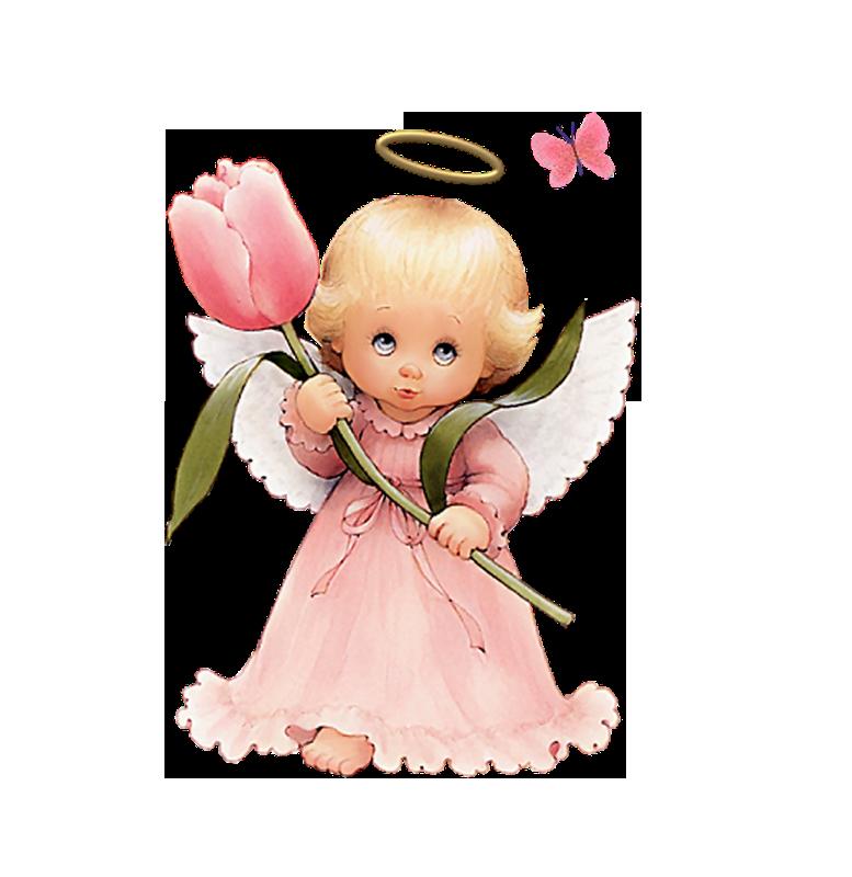 Cute Angel Clip Art | Cute Angel with Tulip Free Clipart ...
