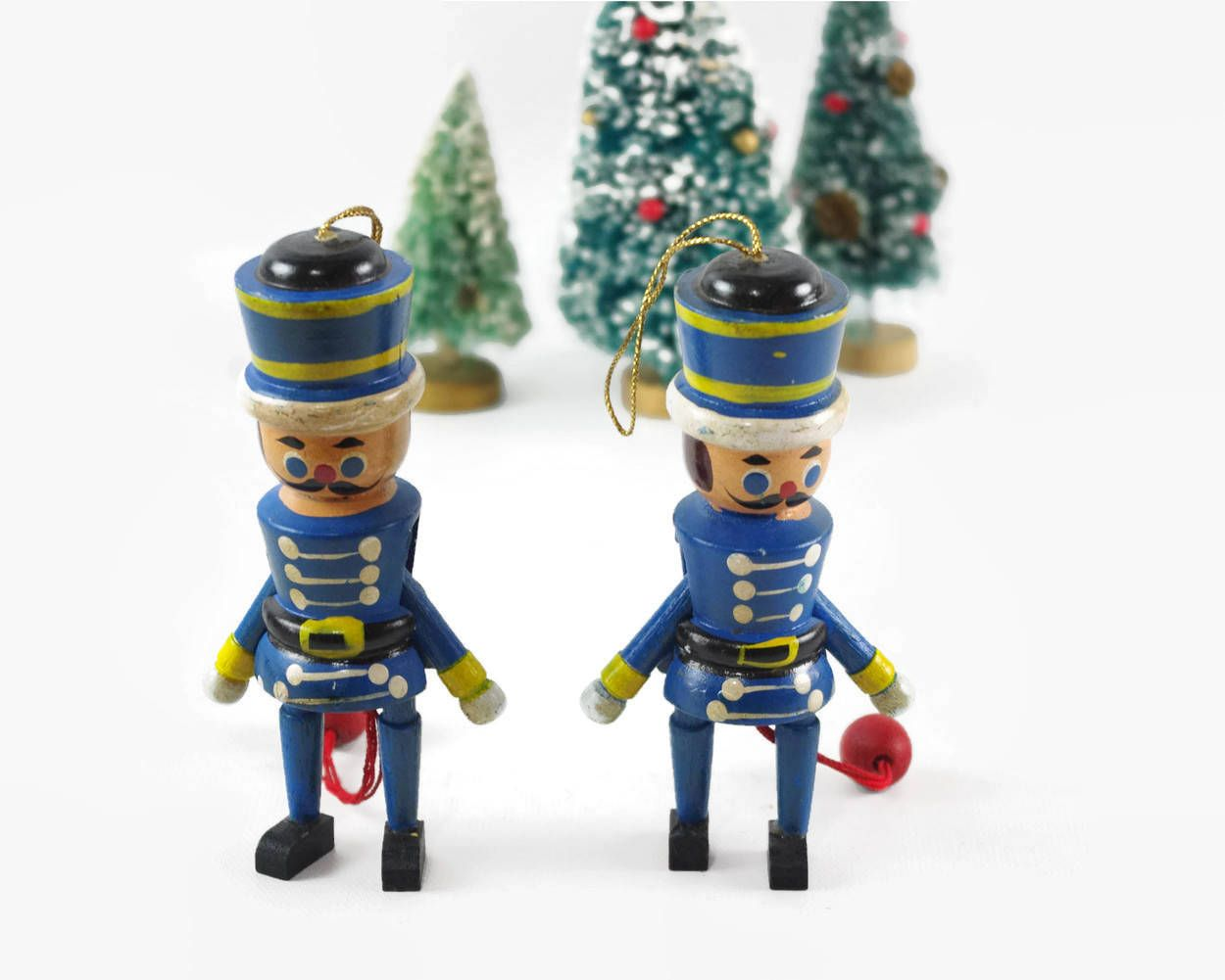 vintage christmas ornaments wooden toy soldier jumping jack toys cute christmas decorations by gizmoandhooha - Christmas Decorations Wooden Soldiers