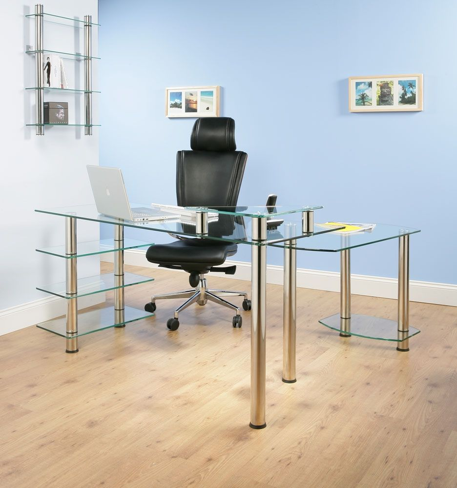 Home Office Appearance More Modern With Glass Desk | Wall ...