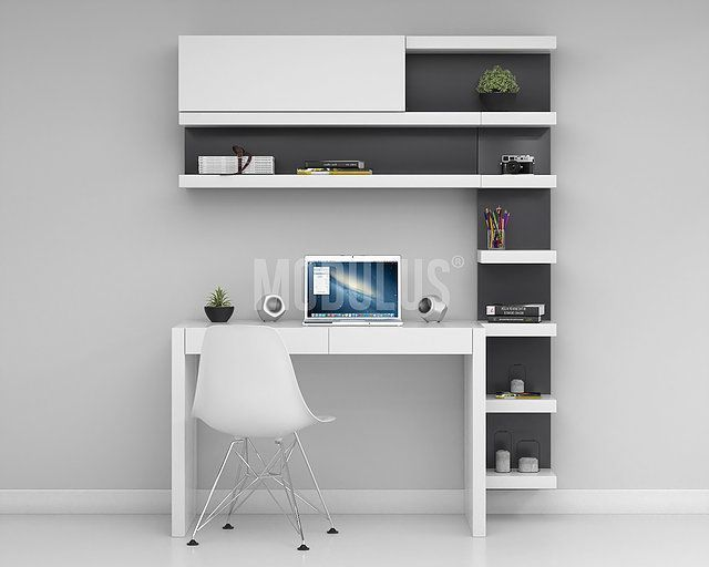 escritorios modernos, escritorios minimalistas, bibliotecas