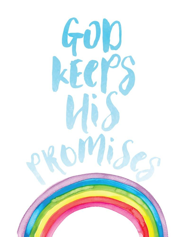 god keeps his promises christian print rainbow baby quotes