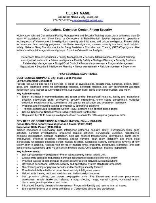 Corrections Officer Resume Example Resume examples, Sample - sample personal protection consultant resume