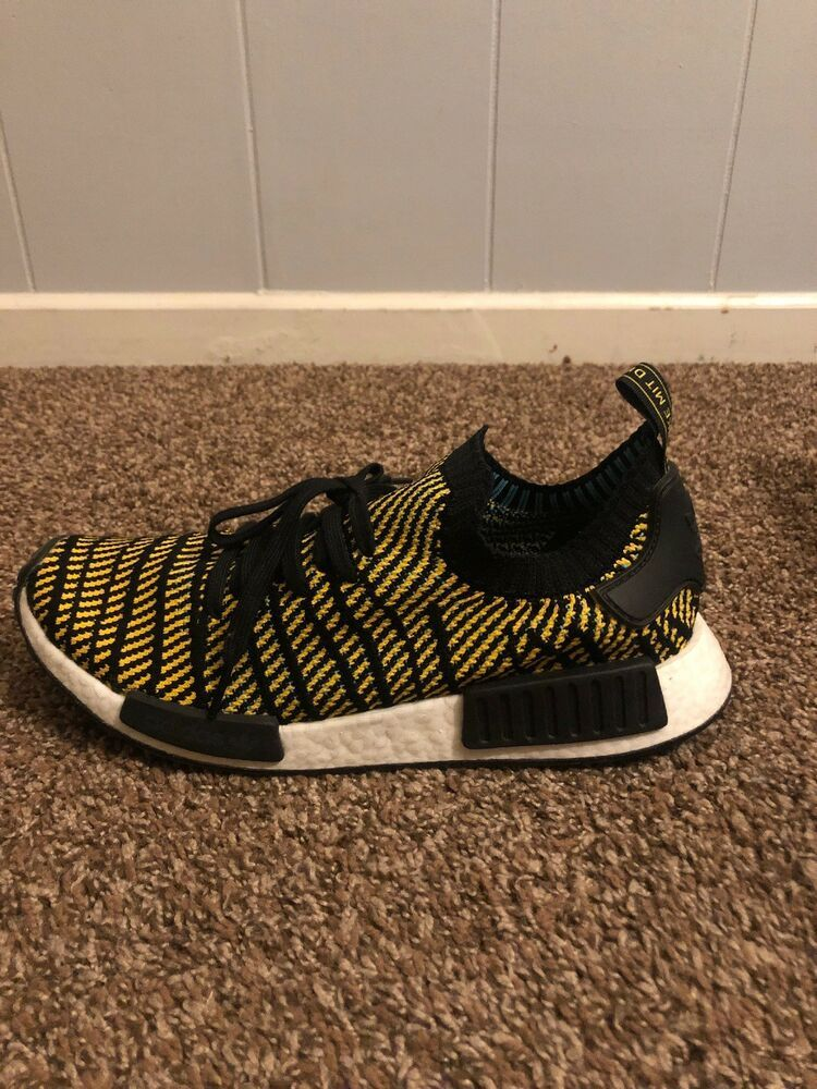 20fff9b80407 Adidas NMD R1 STLT PK Primeknit Boost Stealth Yellow Black White Men s  AQ0934  fashion  clothing  shoes  accessories  mensshoes  athleticshoes  (ebay link)
