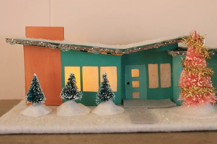 Midcentury Modern Putz House Christmas Village Patterns A Butterfly Roof Ranch House Please Choose Cruelty Free Putz Houses Glitter Houses Butterfly Roof