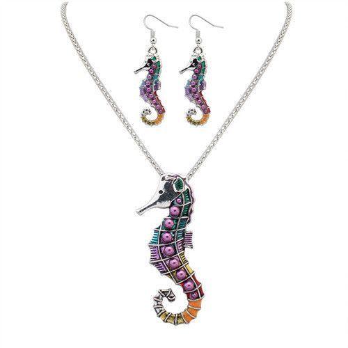 Silver Color Sea Horse Shape Jewelry Set