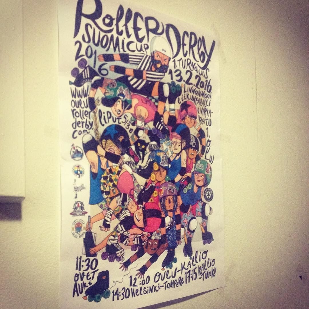 Ookkonää nähäny julistetta vielä? Have you spotted our poster yet? Art by @ahokoivu ! #suomikulho #rollerderbysuomicup2016 #rollerderby #poster #awesomeness #oulurollerderby by oulurollerderby