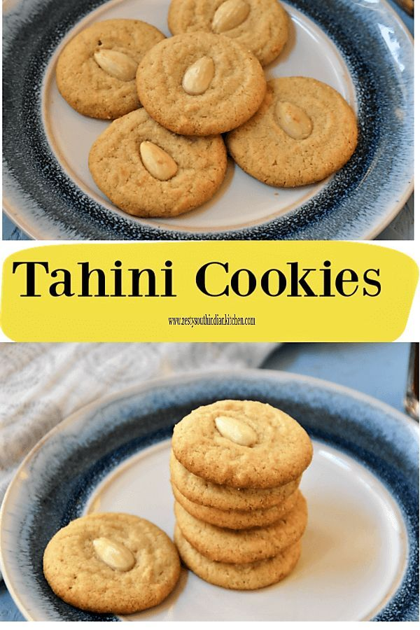 Delicious melt in mouth Tahini cookies made with tahini and butter Topped with blanched almond These cookies has unique nutty texture