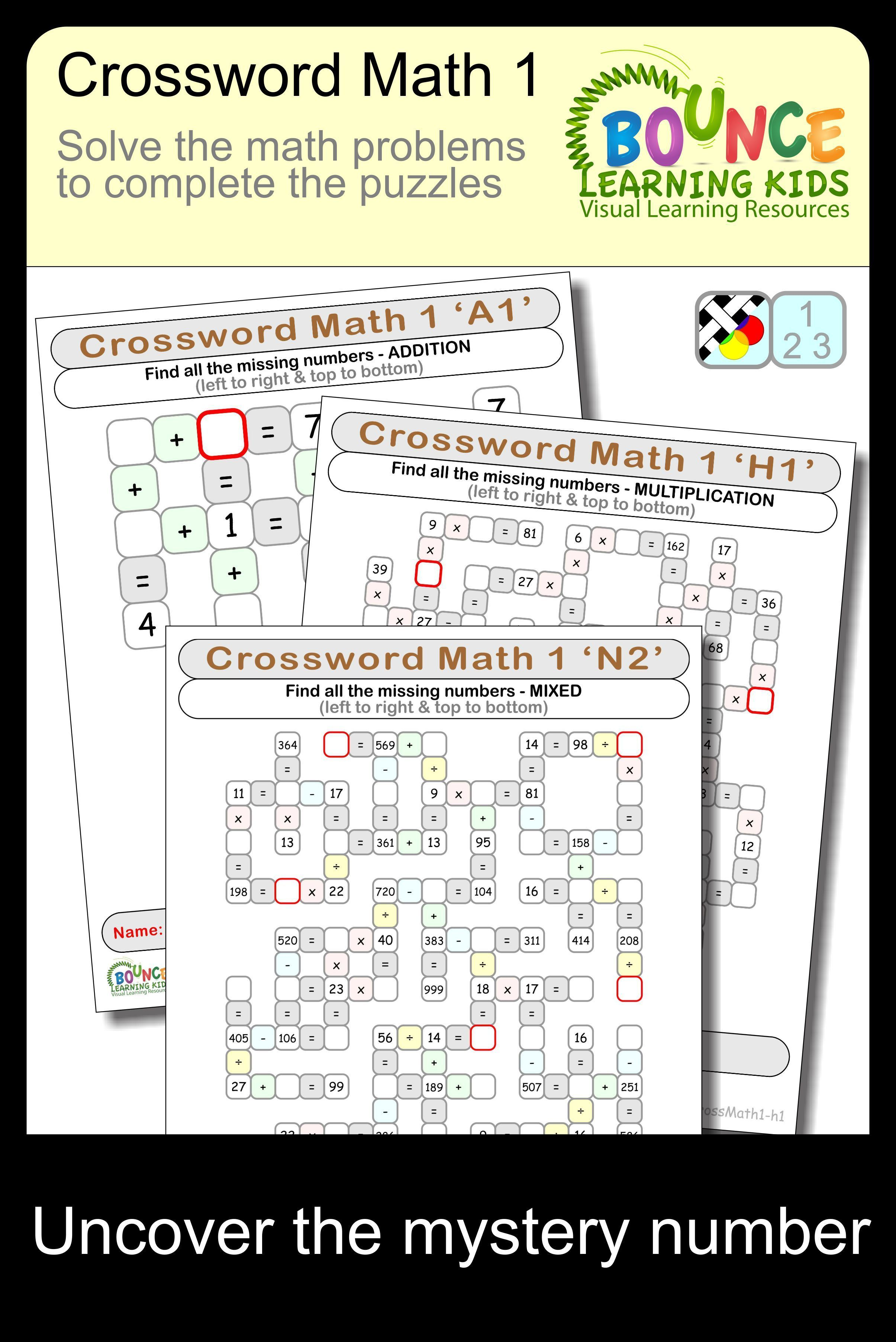 Crossword Math 1 34 Numeracy Sheets