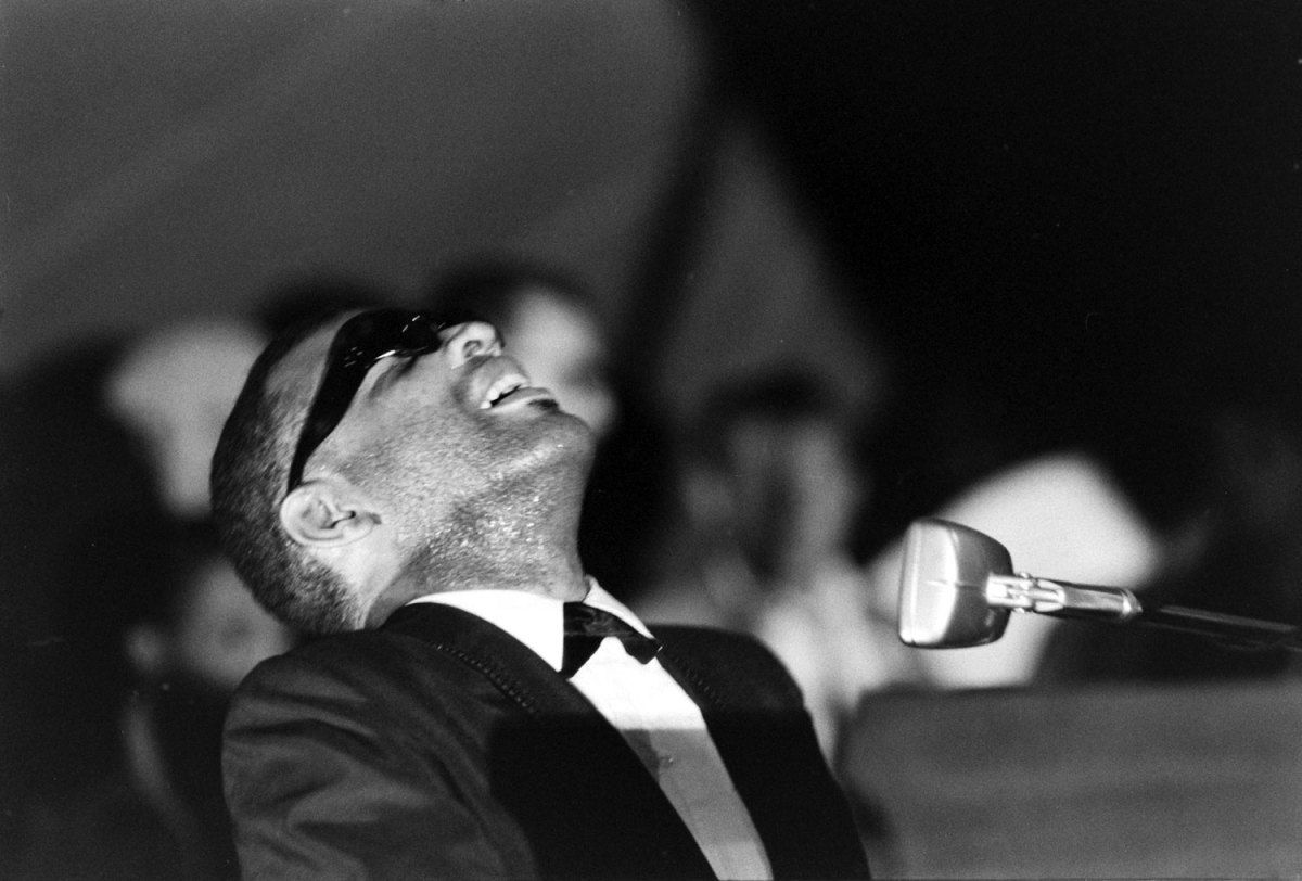 Ray Charles performs during the Salute to Freedom benefit concert in Birmingham, Ala., August 5, 1963.