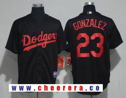 ea4725750 Men s Los Angeles Dodgers  23 Adrian Gonzalez Lights Out Black Pinstripe  Stitched MLB Majestic Cool Base Jersey