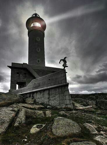 Spain, Galicia, A Coruña, Malpica, Nariga Point Lighthouse