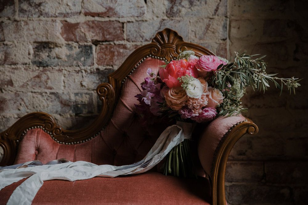 Guildford Hotel wedding, guildford wedding, industrial wedding, warehouse wedding, perth wedding photography, peonies, wedding bouquet, pink chaise