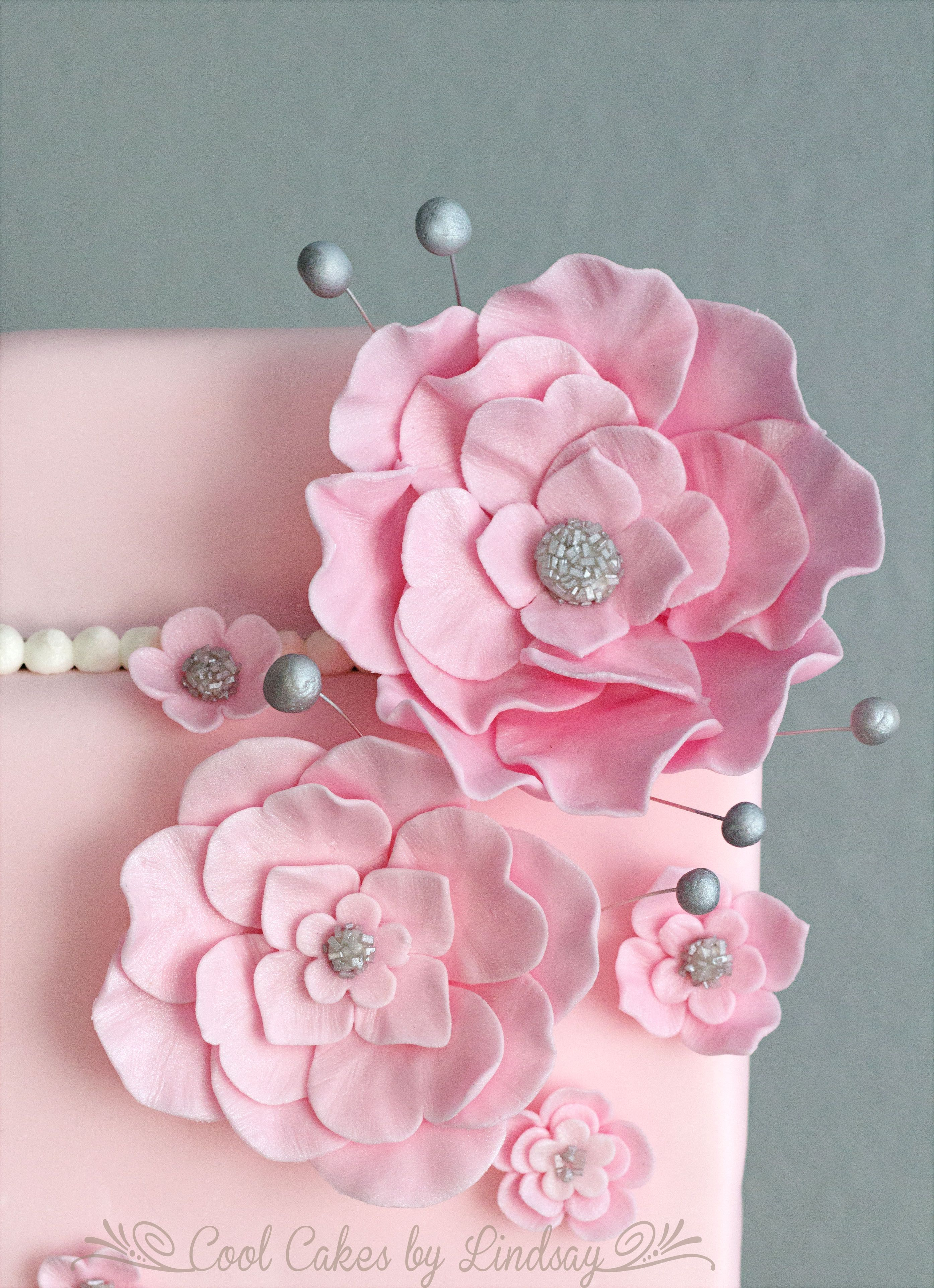 Pink Fondant Flowers Party Pinterest Flower Cake And Sugaring