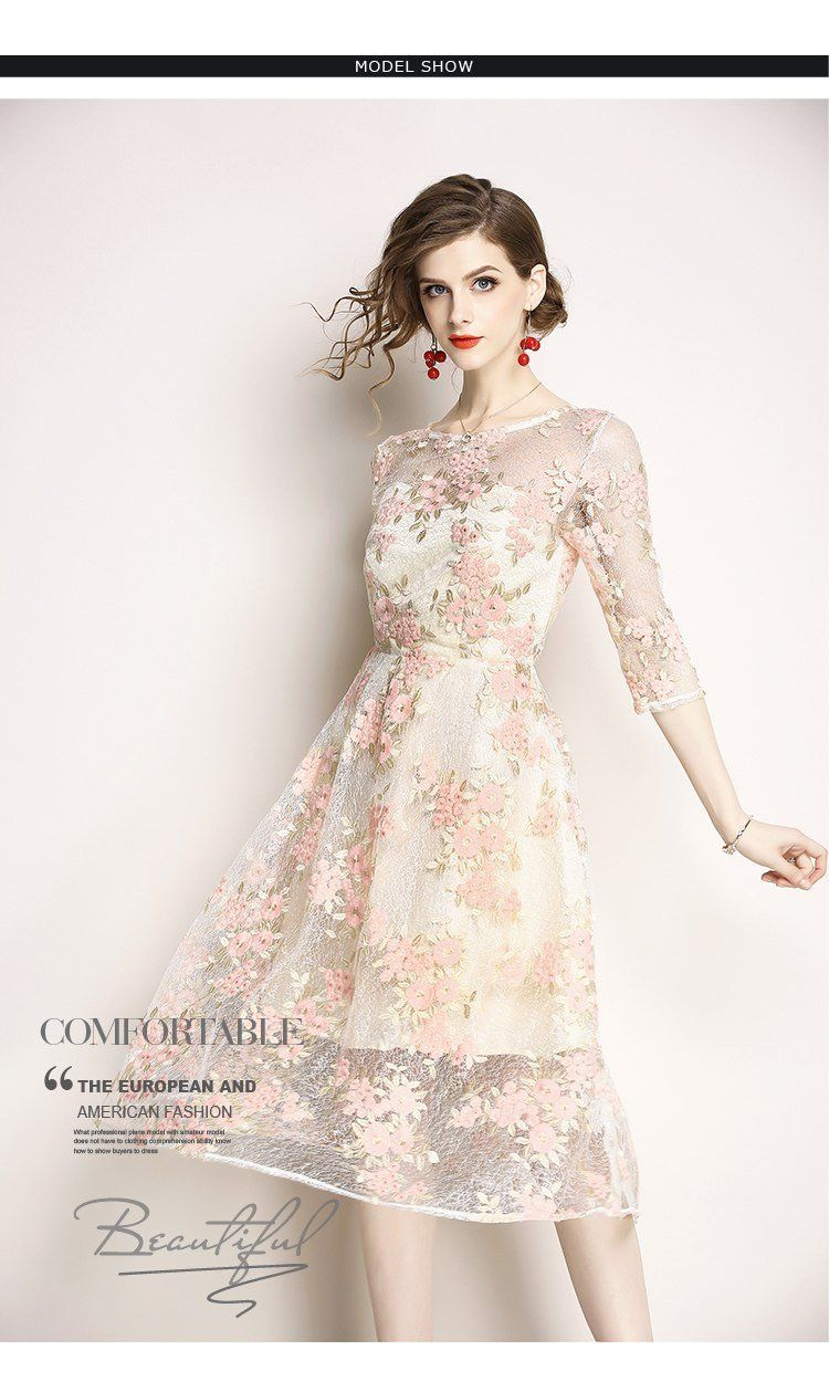 Gauze Mesh Floral Embroidery Lace Dress Women Party Long
