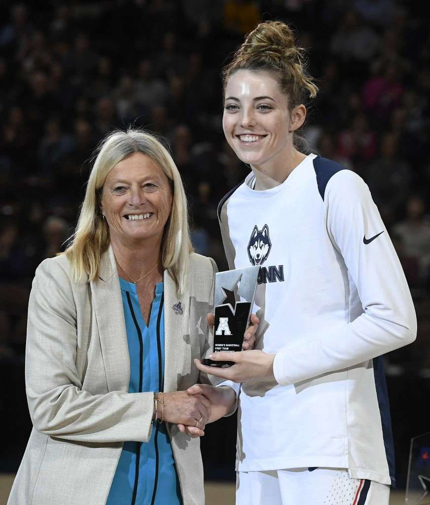 UConn's Katie Lou Samuelson, right, receives the ...