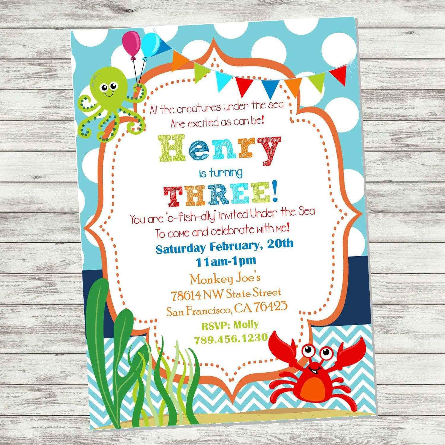 Under The Sea Birthday Invitation Ocean Invitation Fishy