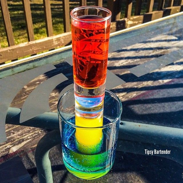 The Tower Of Death Red Tequila Grenadine Yellow Everclear Orange Juice Blue Blue Curacao 7up Tipsy Bartender Shot Drinks Smoothie Drinks
