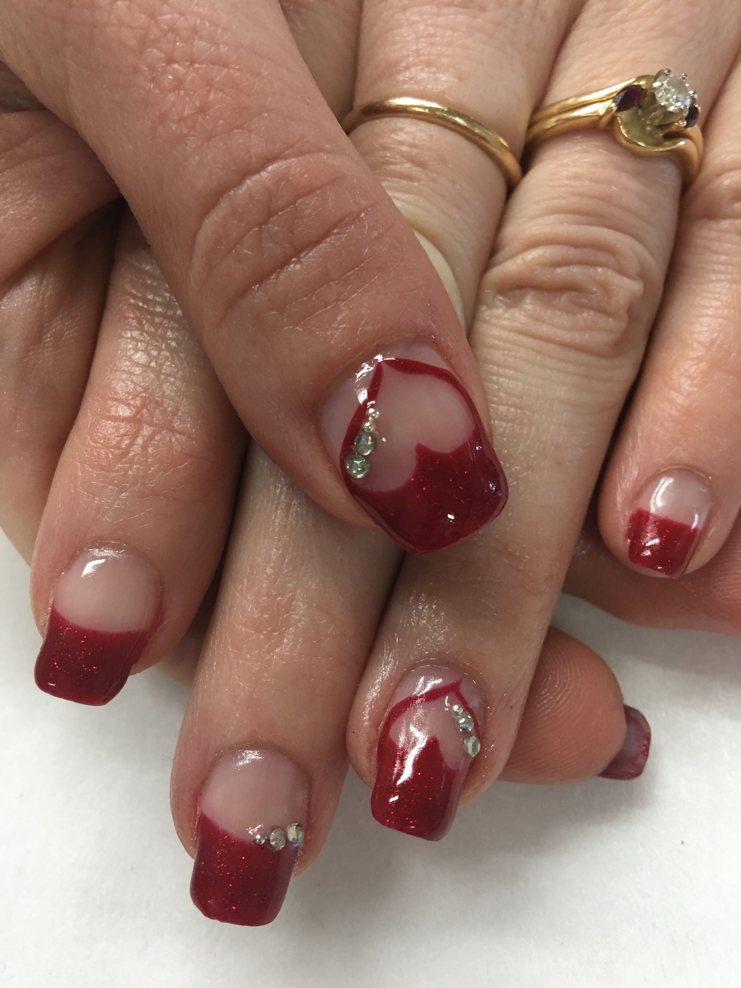Valentines Rhinestone Bling French Heart Gel Nails Gel Nail